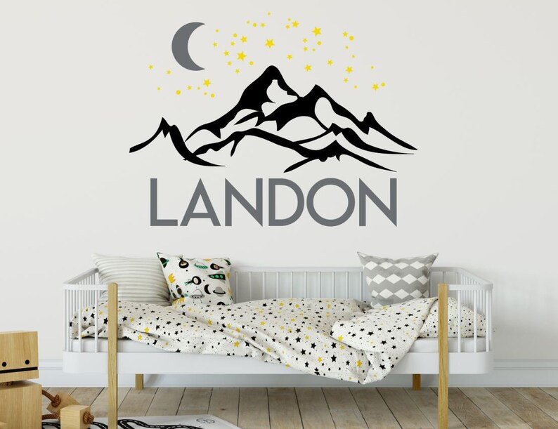 Personalized Mountain Wall Decal with Name Moon and Stars image 0