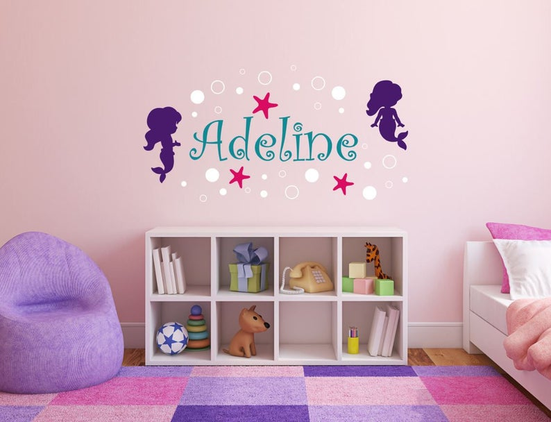 Girl Wall Decal Name  Mermaid Wall Decal with Name  Mermaid image 0