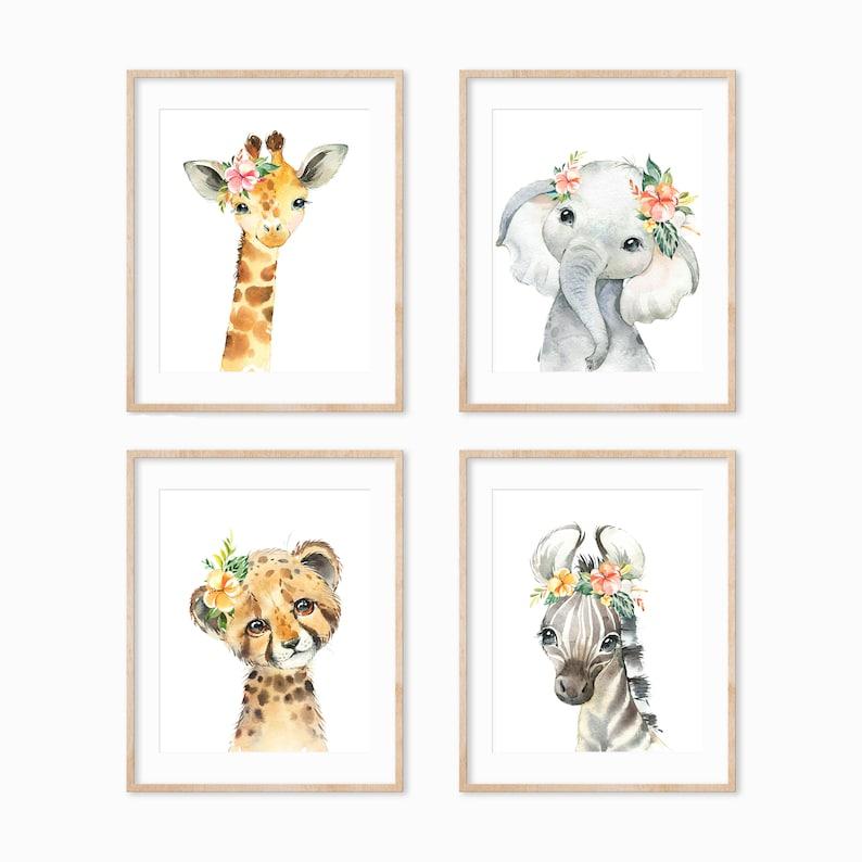 Safari Animal Prints Baby Animals Nursery Print African image 0