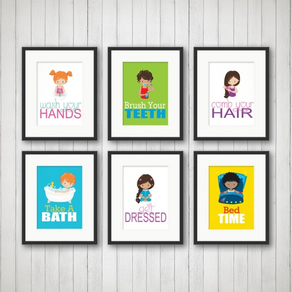 Badezimmer Kinder-Badezimmer-Dekor Geschwister Bad Kunst für | Etsy