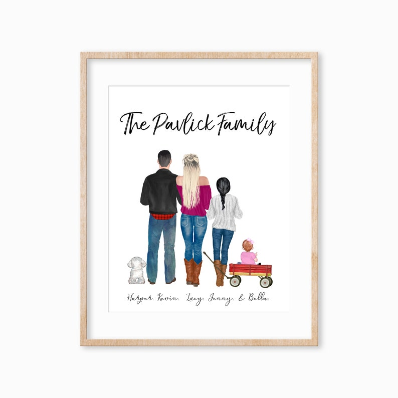Custom Family Portrait Print Family Portrait with Pets Wall image 0