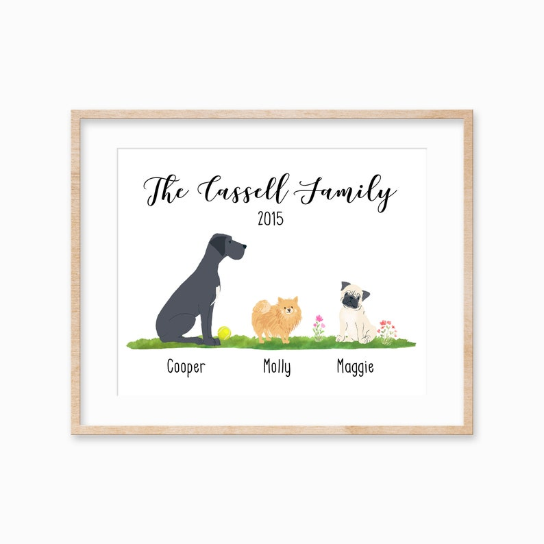 Personalized Pet Family Print Pet Remembrance Gift Dog Lover image 0
