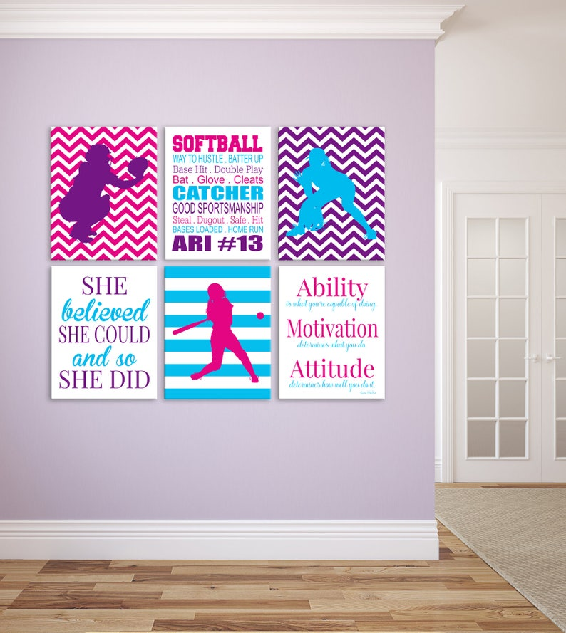 Personalized Softball Prints Softball Wall Decor for Girls image 0