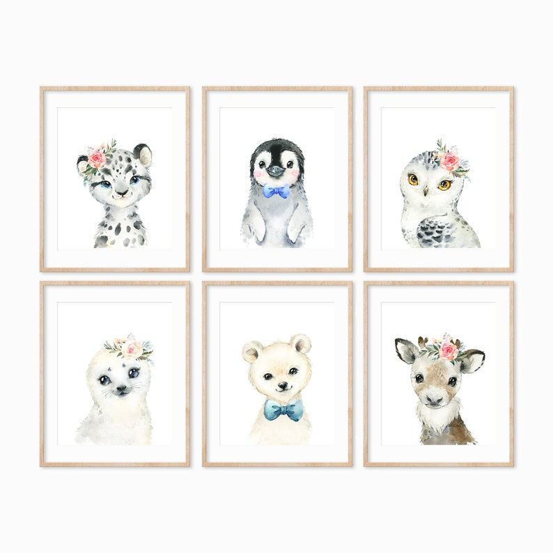 Arctic Animal Prints Arctic Animal Nursery Wall Art image 0