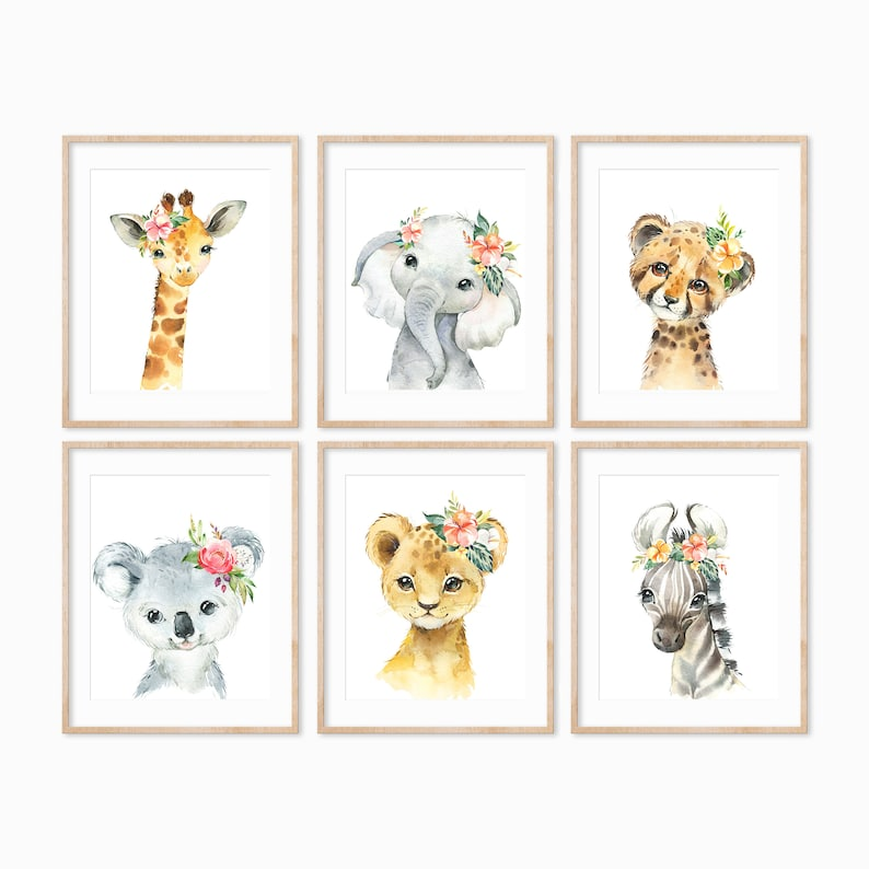 Safari Animal Prints Baby Animals Nursery Print African image 0