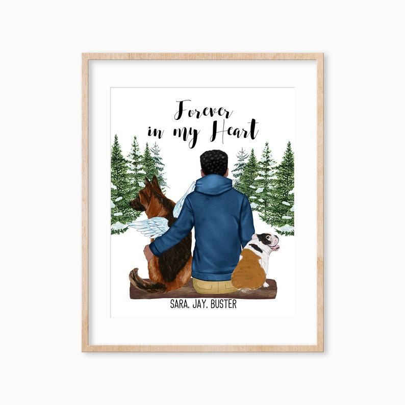 Personalized Pet Print Pet Lover Gift Man and Dog Gift image 0