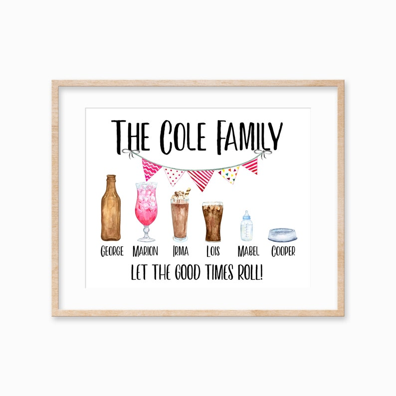 Family Print Gift for Mom Personalized Drink Family Print image 0