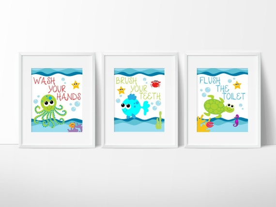 Sea Creature Bathroom Print Under The Sea Kids Bathroom Etsy