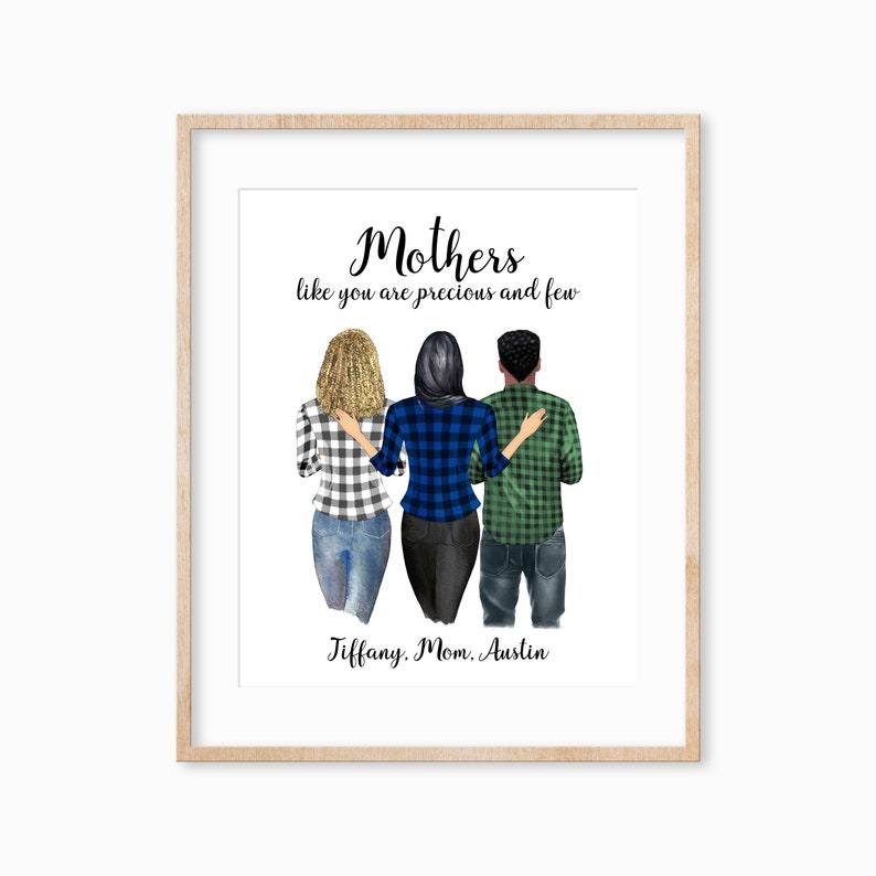 Personalized Mother Son and Daughter Art Mothers Day Gift image 0