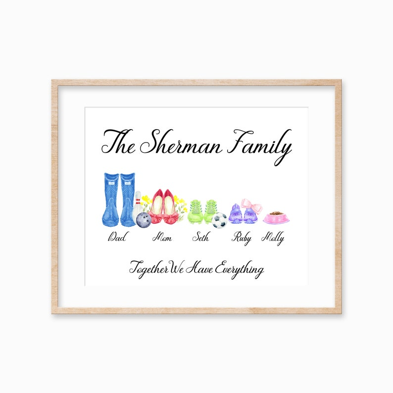 Custom Family Shoe Print Personalized Shoe Family Print image 0