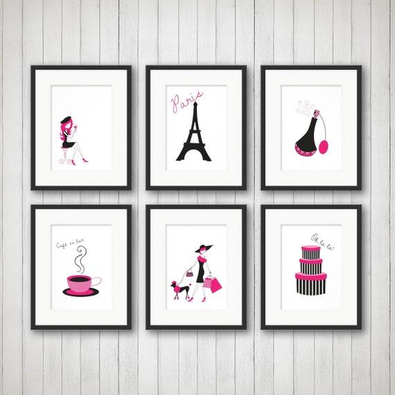 Paris Decor, Teen Room Decor, Fashion Print, Fashion Art, Girls Fashion,  Girls Room Decor, Bedroom Art, Set of 6