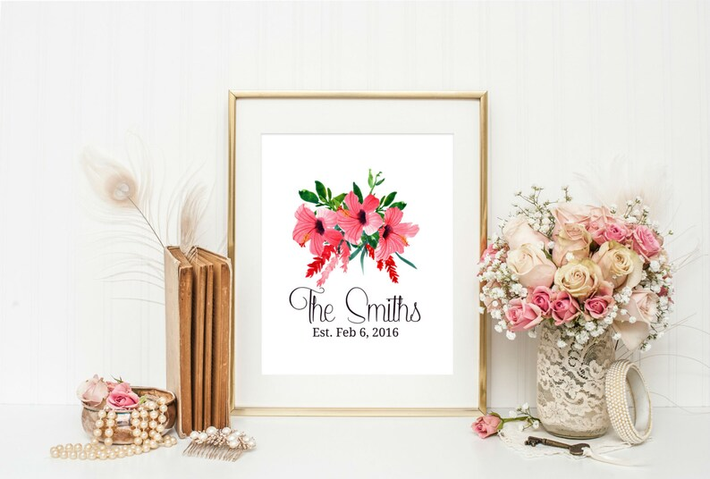 image 0 ...  sc 1 st  Etsy & Hawaiian Wedding Gift Hibiscus Wedding Print Personalized | Etsy