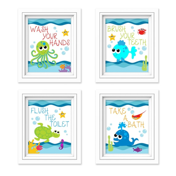 Kids Bathroom Art Sea Creature Bathroom Print Set Under The Etsy