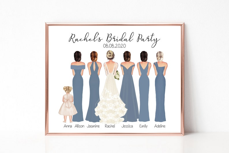 Personalized Bridal Party Print Gifts for Bride Wedding image 0
