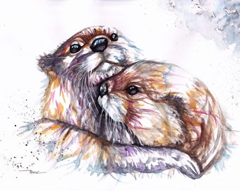 Original Otter Watercolor Painting Print by Be Coventry, Otter Watercolour Wall Art