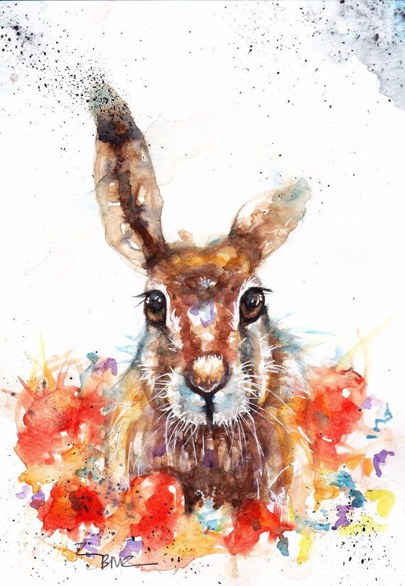 hare painting watercolour,hare paintings for sale,hare animal painting,