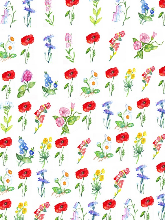 Wildflowers Wrapping Paper Gift Tags New Sale Etsy