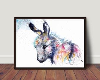 Donkey, Wall Art, Poster art, Original watercolour art. Paper art, Illustration, Animal art, Animal art card, Print, Wildlife art, Giclee