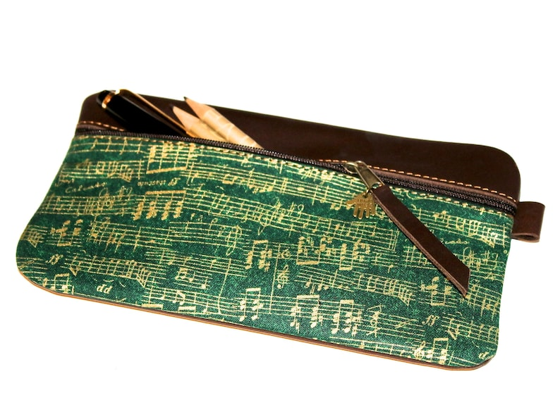 Music Feather Pencil notes case elf Leather /& Fabric