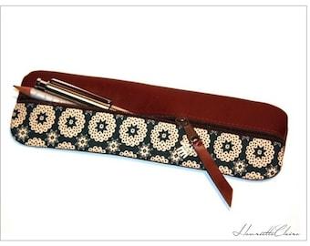 Pencil case  leather  & fabricUNIQUE