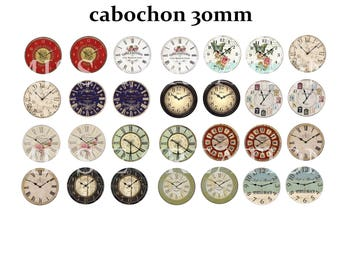 Print image cabochon 30mm clock