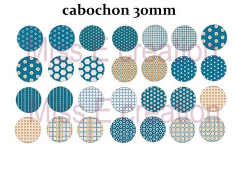 Print image cabochon 30mm vintage blue orange