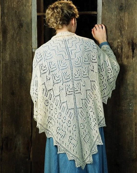 GORGEOUS SPIRIT OF THE SOUTHWEST LACE SHAWL to KNIT by FIBER TRENDS