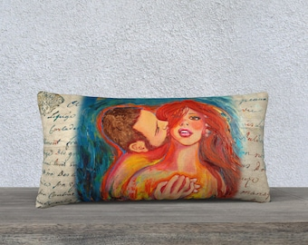 I care for you! * Vintage style, cushion cover 24 x 12