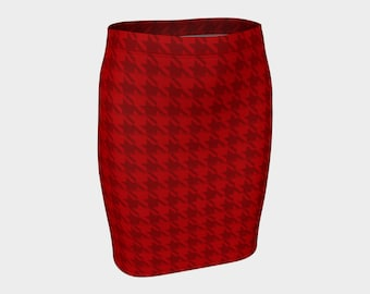 Red houndstooth bodycon skirt