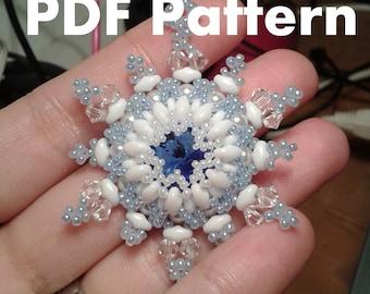 PDF-file Beading Pattern Jolly Snowflake Pendant PDF-file Beading Tutorial by HoneyBeads1