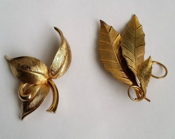 Vintage Gold Tone Leaf Leaves Pin Brooch Set of Two