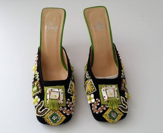 Vintage FENDI Embroidered Slippers Mules