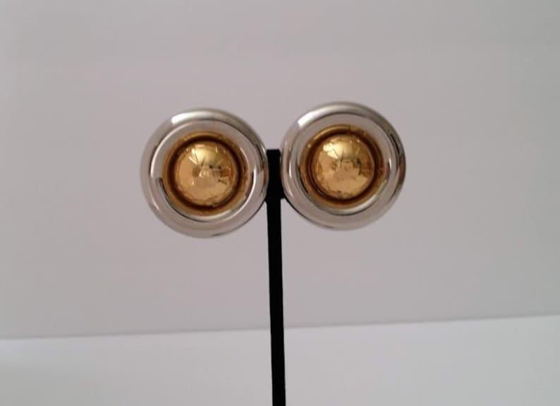 C\u00e9line Two Tone Orbit Clip On Earrings