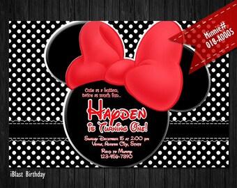 Rojo Minnie Mouse Digital Invitación Minnie Rojo Arco Pez Etsy