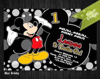 Mickey Mouse Invitations - Mickey Birthday invites, Personalized Digital file - Mickey Mouse Clubhouse birthday