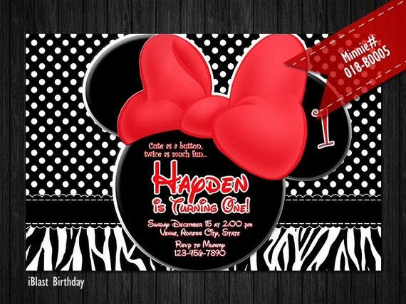 Minnie Mouse Invitaciones Para Minnie Birthday Minnie Rojo Arco Pez Y Con Tema De Cebra
