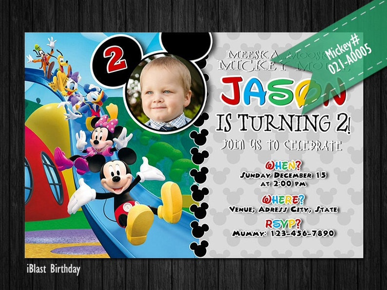 Personalized Digital file Mickey Mouse Invitation Mickey Birthday invitation for Mickey Birthday Mickey Mouse Clubhouse Party