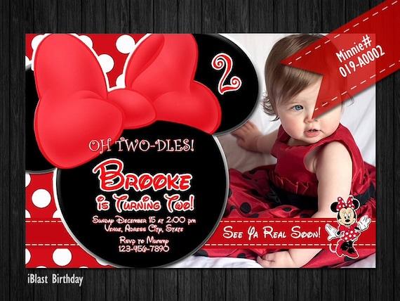 Rojo Minnie Mouse Digital Invitación Minnie Rojo Arco Pez Tarjeta Temática De Minnie Birthday