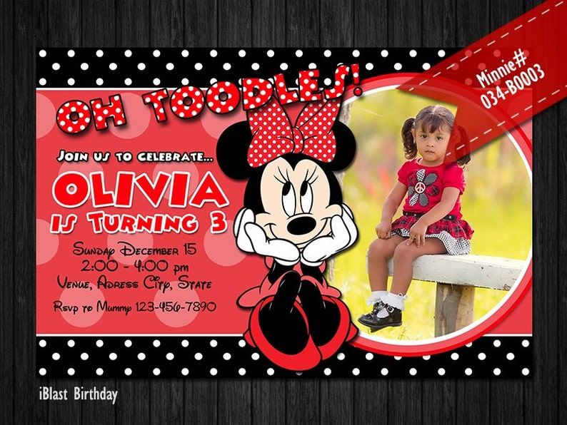 Minnie Mouse Invitations for Minnie Birthday Red and black Digital Invite for Minnie party