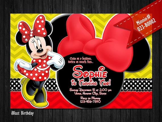 Digital Amarilla Rojo Minnie Mouse Invitación Para Minnie Birthday Minnie Rojo Arco Y Chevron Patrones