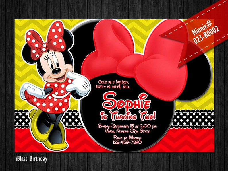 Red Minnie bow and chevron patterns DIGITAL yellow red Minnie Mouse Invitation for Minnie Birthday