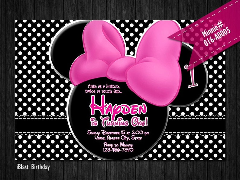 DIY Minnie Mouse Digital Invitation for Minnie Mouse Birthday polka dots with bow and Minnie ear