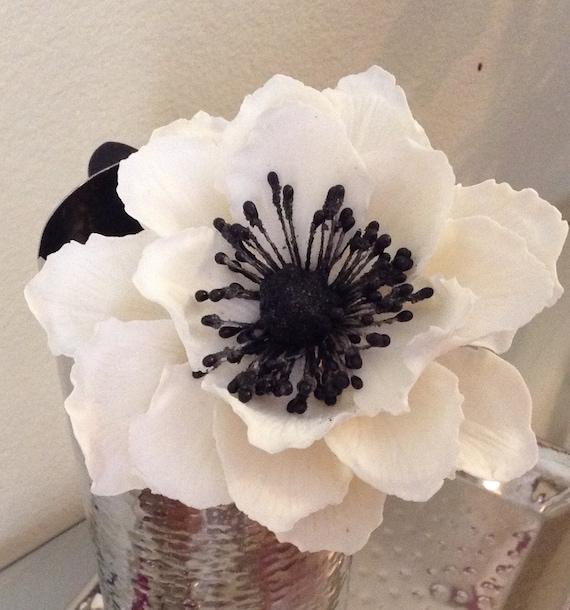 0ne Sucre Comestible Blanche Anemone Fleurs Cake Topper Etsy