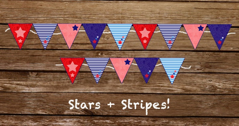 Stars & Stripes Banner  Red White and Blue  Print at home image 0