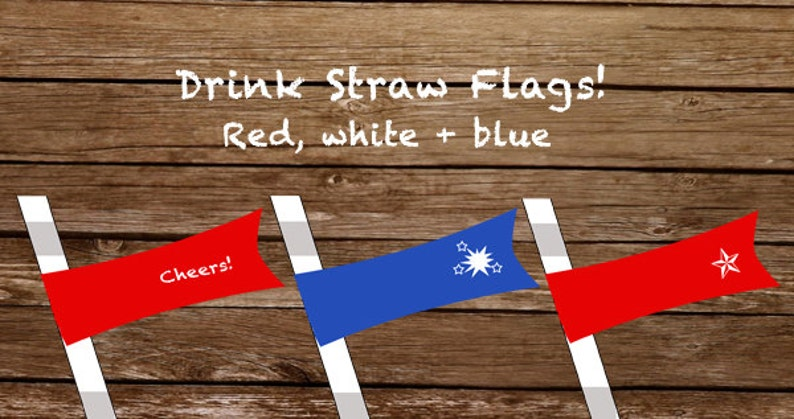 Printable Drink Straw Flags  Red White & Blue image 0