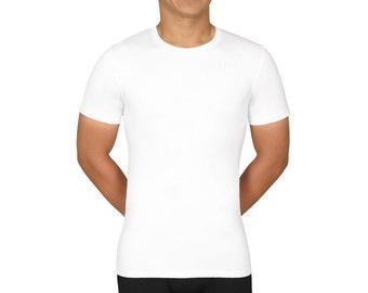 SculptX Tall Mens White Performance Crew Neck Undershirt With Benefits Mens Shapewear