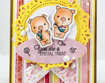 """Pink piglets """"You are a special treat"""" card"""