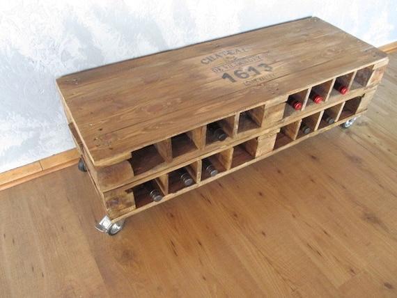 Palettentisch Wine Rack Lowboard Palettenmöbel In Loft | Etsy