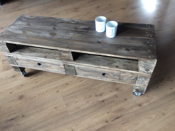 Palettentisch Lowboard Coffee Table With Drawers Etsy