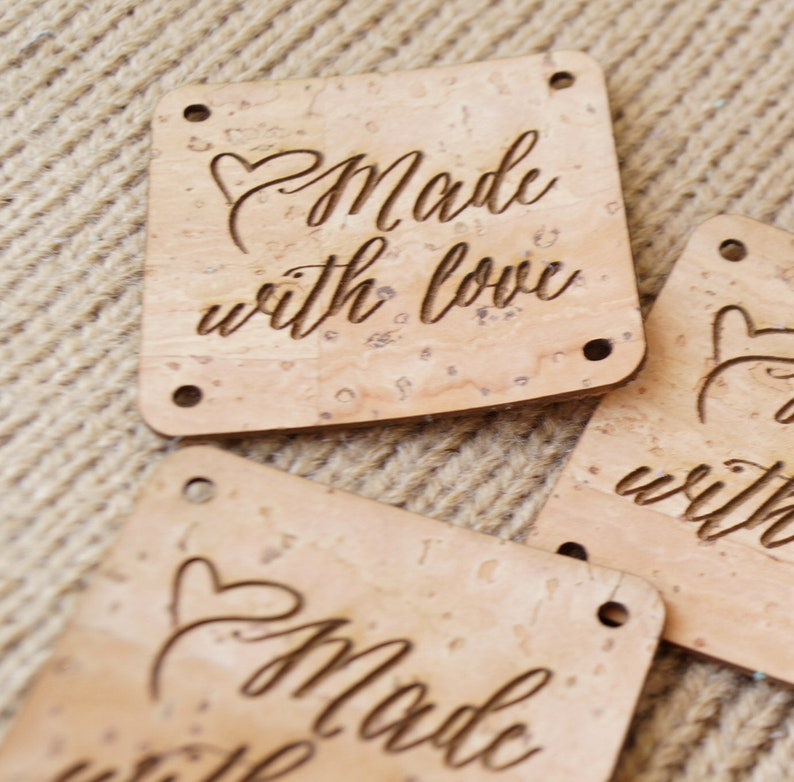 Labels for handmade items set of 25 pc custom clothing labels kntting labels cork leather tags for handmade items cork labels